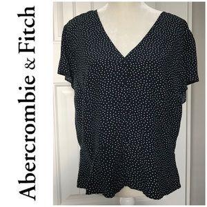 A&F Navy Polka Dot Cap Sleeve Blouse Size XL